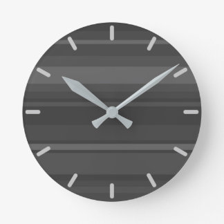 Charcoal Stripes Round Clock