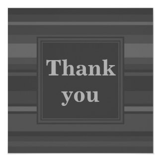 Charcoal stripes thank you card 13 cm x 13 cm square invitation card