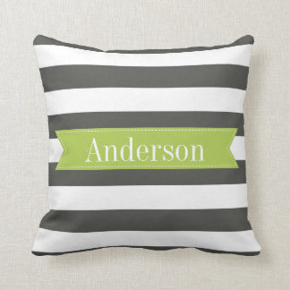 Charcoal Stripes with Lime Custom Monogram Cushion