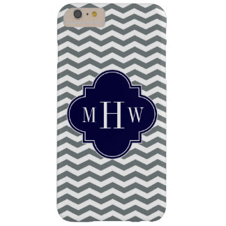 Charcoal Thin Chevron Navy Quatrefoil 3 Monogram Barely There iPhone 6 Plus Case