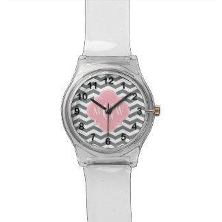 Charcoal Thin Chevron Pink Quatrefoil 3 Monogram Watch