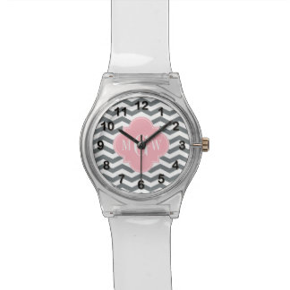 Charcoal Thin Chevron Pink Quatrefoil 3 Monogram Watches