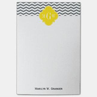 Charcoal Thin Chevron Yellow Quatrefoil 3 Monogram Post-it Notes
