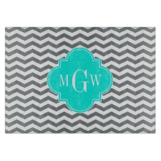 Charcoal Tn Chevron Brt Aqua Quatrefoil 3 Monogram Cutting Board