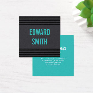 Charcoal & Turquoise with Black Stripes Square Business Card
