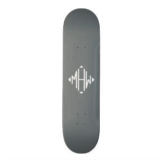 Charcoal White 3 Initials Diamond Shape Monogram Custom Skate Board