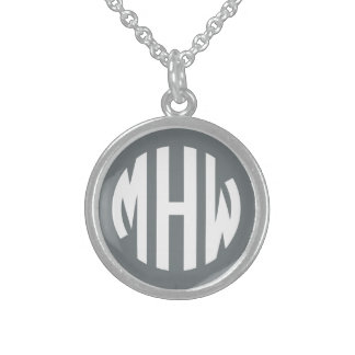 Charcoal White 3 Initials in a Circle Monogram Round Pendant Necklace