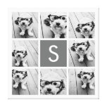 Charcoal White 8 Photo Collage Custom Monogram Gallery Wrap Canvas