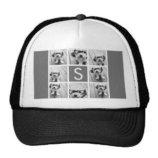 Charcoal White 8 Photo Collage Custom Monogram Cap