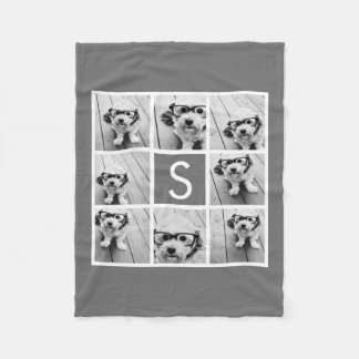 Charcoal White 8 Photo Collage Custom Monogram Fleece Blanket
