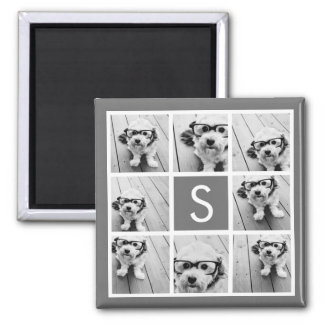 Charcoal White 8 Photo Collage Custom Monogram Magnet