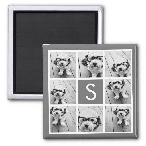 Charcoal White 8 Photo Collage Custom Monogram Refrigerator Magnet