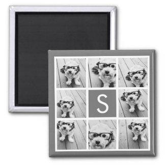 Charcoal White 8 Photo Collage Custom Monogram Square Magnet