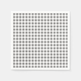 Charcoal White Gingham Pattern Disposable Serviette