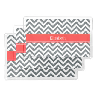Charcoal White LG Chevron Coral Red Name Monogram