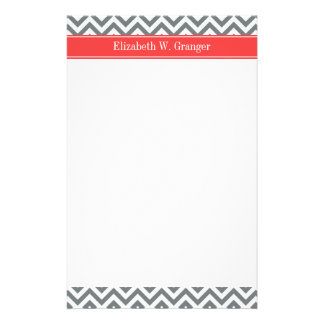 Charcoal White LG Chevron Coral Red Name Monogram Stationery Paper