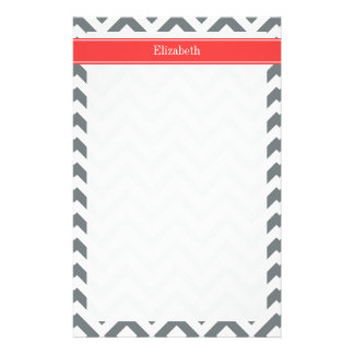 Charcoal White LG Chevron Coral Red Name Monogram Stationery Design
