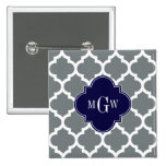 Charcoal White Moroccan #5 Navy 3 Initial Monogram Badges