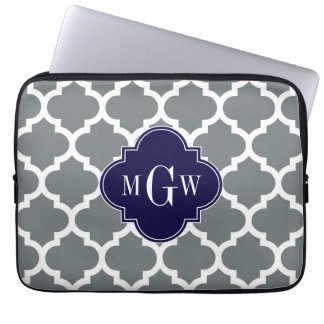 Charcoal White Moroccan #5 Navy 3 Initial Monogram Laptop Sleeve