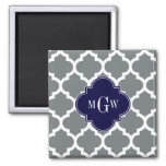 Charcoal White Moroccan #5 Navy 3 Initial Monogram Square Magnet