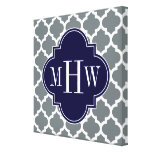 Charcoal White Moroccan #5 Navy 3 Initial Monogram Stretched Canvas Print