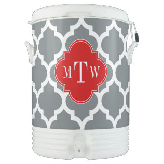 Charcoal, White Moroccan #5 Red 3 Initial Monogram Drinks Cooler