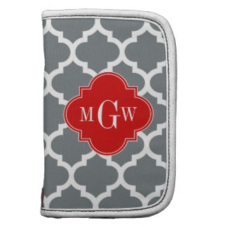 Charcoal White Moroccan 5 Red 3 Initial Monogram Organizers