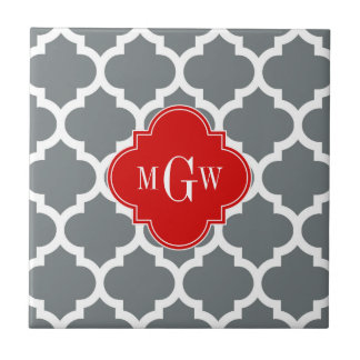 Charcoal White Moroccan 5 Red 3 Initial Monogram Tiles