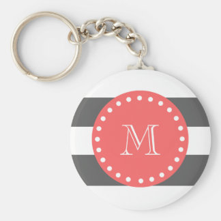 Charcoal White Stripes Pattern, Coral Monogram Basic Round Button Key Ring