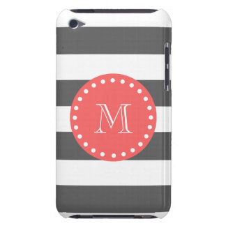 Charcoal White Stripes Pattern, Coral Monogram iPod Touch Cover