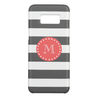 Charcoal White Stripes Pattern, Coral Monogram Case-Mate Samsung Galaxy S8 Case