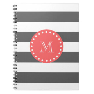 Charcoal White Stripes Pattern, Coral Monogram Notebook