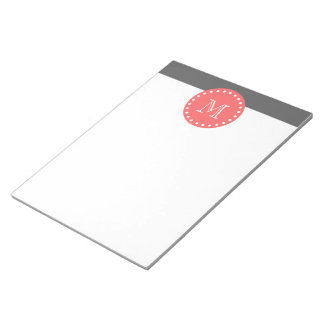 Charcoal White Stripes Pattern, Coral Monogram Notepad