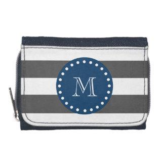 Charcoal White Stripes Pattern, Navy Blue Monogram Wallets