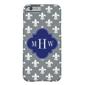 Charcoal Wht Fleur de Lis Navy 3 Init Monogram Barely There iPhone 6 Case