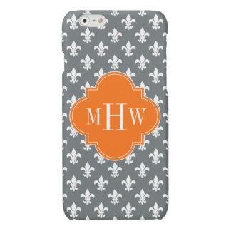 Charcoal Wht Fleur de Lis Pumpkin 3 Init Monogram iPhone 6 Plus Case