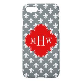 Charcoal Wht Fleur de Lis Red 3 Init Monogram iPhone 7 Case