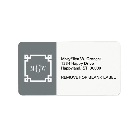 Charcoal Wht Greek Key #2 Framed 3 Init Monogram Address Label