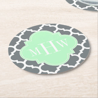 Charcoal, Wht Moroccan #5 Mint 3 Initial Monogram Round Paper Coaster