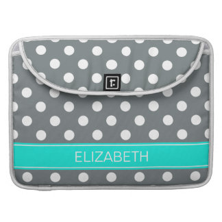 Charcoal Wht Polka Dots #2 Brt Aqua Name Monogram Sleeve For MacBooks