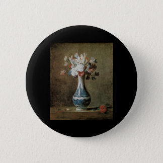 Chardin Flowers in a blue vase 6 Cm Round Badge