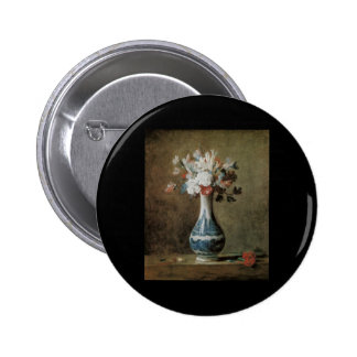 Chardin Flowers in a blue vase 6 Cm Round Badge