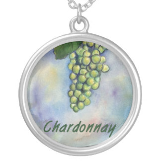 Chardonnay Wine Grapes Silver Necklace