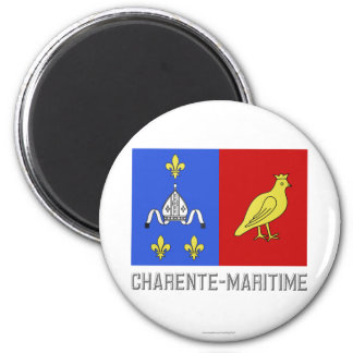 Charente-Maritime flag with name 6 Cm Round Magnet