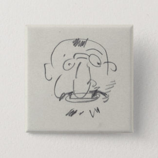 Charge de Lautrec par Lui-Meme (pencil on paper) 15 Cm Square Badge