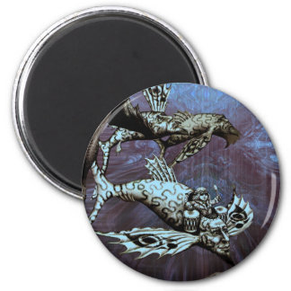Charge of the Fish Pilot 6 Cm Round Magnet
