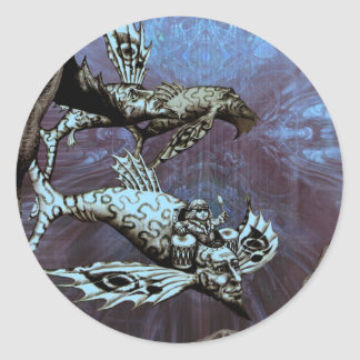 Charge of the Fish Pilot Classic Round Sticker