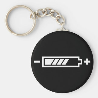 Charged - battery solar hybrid electric basic round button key ring
