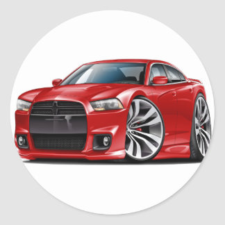 Charger SRT8 Red Car Round Sticker