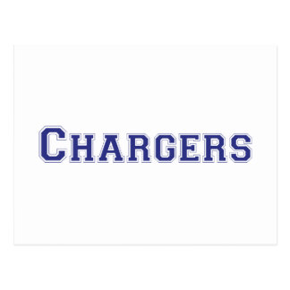 Chargers square logo in blue post card